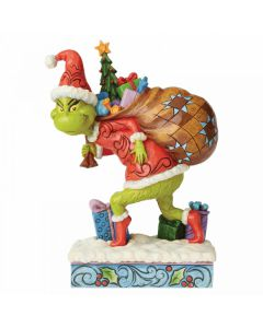 Tip Toeing Grinch with Bag of Gifts Over Shoulder Figurine Jim Shore & Enesco 6004062