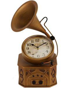 Hometime Metal Mantel Clock - Vintage Style Gramophone | W2822