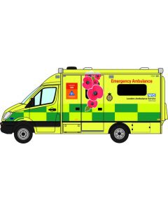 Oxford Diecast 76MA007 Mercedes Ambulance Remembrance Day Livery London Ambulance Service