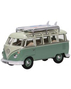 Oxford Diecast VW T1 Samba Bus/Surfboards Turquoise/Blue White 76VWS005