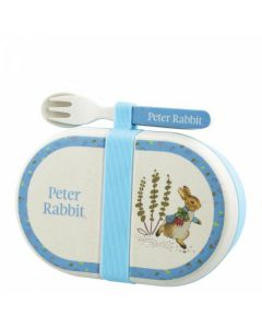 Peter Rabbit Bamboo Snack Box with Cutlery Set by Enesco A28743
