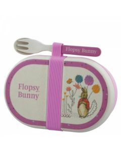 Flopsy Bamboo Snack Box with Cutlery Set by Enesco A28858