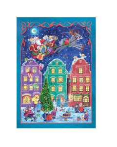 801 Santa over the Rooftops Traditional A4 Advent Calendar by Richard Sellmer