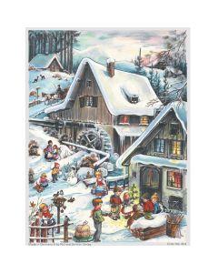 Richard Sellmer A4 Advent Calendar Watermill Snow Scene 804