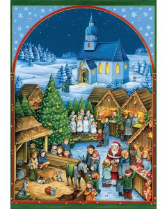 ACL70180 Church Christmas Market Traditional Advent Calendar by Coppenrath
