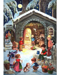 24 At the Stable Traditional A4 Advent Calendar by Richard Sellmer