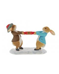 Peter Rabbit and Benjamin Pulling a Cracker Figurine A30180
