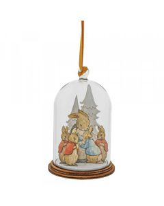 Peter Rabbit and Family at Christmas Wooden Hanging Ornament by Enesco A30464