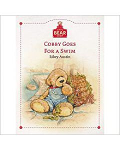 Alice's Bear Shop Storybook Cobby goes for a swim, Art print and lapel badge package