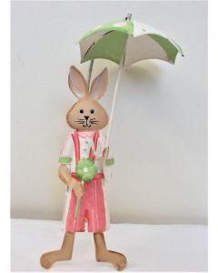 Hanging Rabbit with umbrella - boy - Tin Plate 18cm