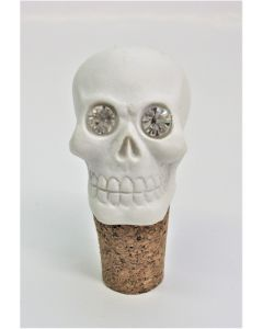 SK196 Crystal Eyed Skull Head Cork Bottle Stopper