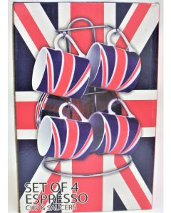 Set of 4 Union Jack espresso cups and saucers 67599