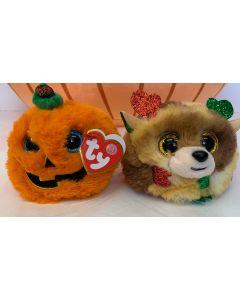 TY Halloween Christmas Puffie Set of 2 : Fudge Reindeer, Seeds Pumpkin 42516/42517