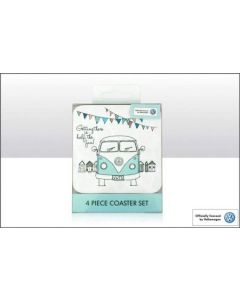 """Official VW Campervan 4 Piece Coaster Set """"Getting there is half the fun!"""""""