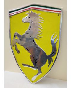 Ferrari Shield Polished Aluminium and Painted Reproduction Metal Sign