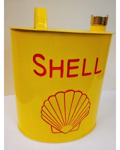 Shell Oil Can - Yellow Aluminium Reproduction Oval Oil/Jerry Can Shell