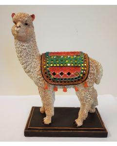 LP43015 Peruvian Llama with Mirrored Blanket Resin Figure