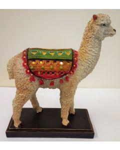 LP43014 Small Peruvian Llama with Mirrored Blanket Resin Figure
