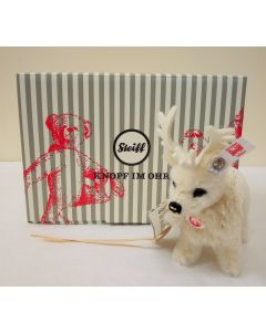 Steiff Winter Reindeer Ornament White Alpaca 12cm 006234