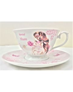 Mum with love Fine China Cup and Saucer