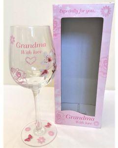 grandma with love large wine glass vintage lane by jennifer rose lp33128
