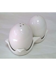 JD40341 White Egg Shaped Salt and Pepper Shakers With Stand by Puckator