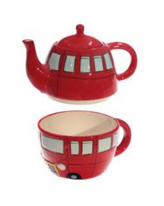 Routemaster Bus Ceramic Teapot & Cup Set for One LON42 by Puckator