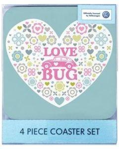 "Official VW Beetle ""Love Bug"" 4 Piece Coaster Set Official VW Merchandise"