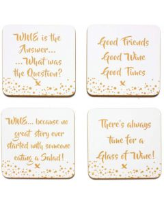 Wine Coasters The Leonardo Collection Gold Edition Set of 4 LP41108