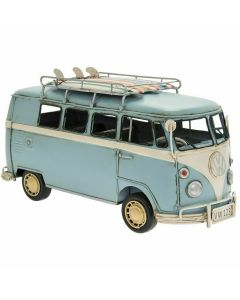 VW Camper Van Blue Vintage Tinplate Model Lesser & Pavey LP45716