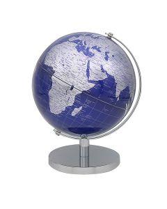 Vintage Silver & Blue World Globe on stand 19.5cm by Leonardo LP46122