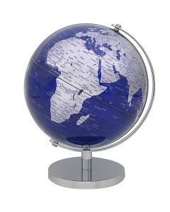 Vintage Silver & Blue World Globe on stand 34cm by Leonardo