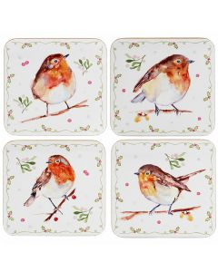 Xmas Winter Robins Coasters Set of 4 by Leonardo LP51597