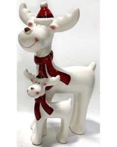 Leonardo Reindeer and Child Ceramic Figurine LP51844