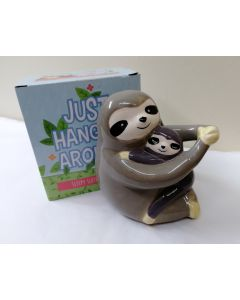 Sleepy Sloth Mother And Baby Ceramic Money Bank by Puckator MB240