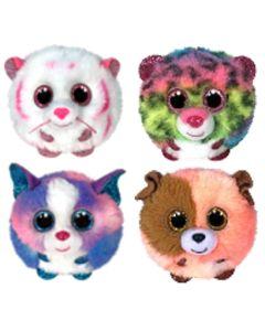 TY Puffie Set of 4 - Tabor Tiger, Dotty Leopard, Cleo Husky & Mandarin Dog
