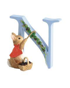 Beatrix Potter Alphabet Letter N Cotton Tail Figurine by Enesco A5006
