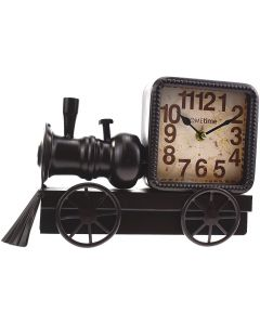 Hometime Metal Mantel Clock Black Locomotive Arabic Dial | W2761