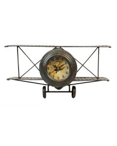 Biplane Metal Case Mantel Clock by Hometime W2764