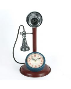 W2809 Retro Telephone Metal Case Mantel Clock by Hometime
