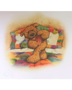 Alice's Bear Shop Illustration of Woodroffe from the storybook Woodroffe Growls Again
