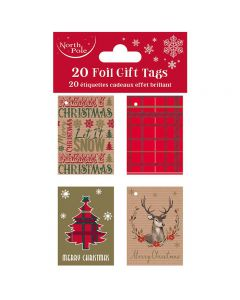 20 Pack Tartan Gift Tags by North Pole X28125