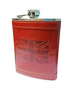 X56055 Hip-flask Union Jack embossed leather 6oz/177ml
